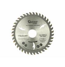 Geko G78001 vídia betétes körfűrészlap fához zajcsillapítással 115x22x40