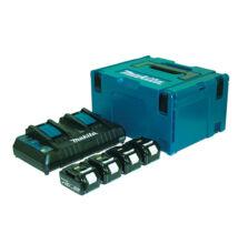 Makita 197503-4 akku szett 4x4,0Ah+ DC18RD duplatöltő + MAKPAC